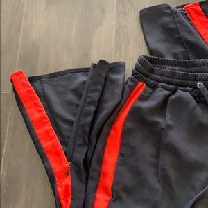 H&M Pants - Red strip navy high waisted pants